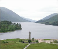 the Glenfinnan monument at Loch Shiel, Glenfinnan, 13 miles along the Road to the Isles.  The monument commemorates th e raising of the Jacobite standard by Bonnie Prince Charlie at the start of the rebellion in 1745
